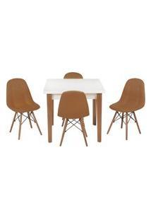 Conjunto Mesa De Jantar Luiza 80Cm Branca Com 4 Cadeiras Botonê - Marrom