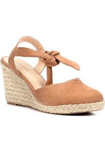 Sandália Anabela Couro Shoestock High Vamp Feminina - Feminino-Nude
