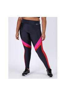 Calça Legging Feminina Plus Size Esportiva Ace Cintura Alta Color Block Neon Chumbo