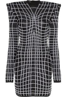 Balmain Vestido Com Estampa Grade - Preto