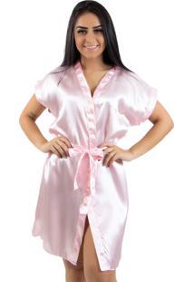 Robe De Cetim Linha Noite Rosa Claro