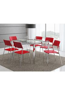 Mesa 346 Com Vidro Incolor Cromada Com 6 Cadeiras 1711 Vermelha Carraro