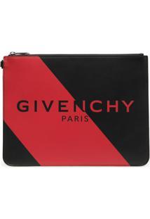 Givenchy Bolsa Carteiro Com Listras E Logo - Preto