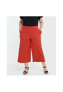 Calça Plus Size Feminina Pantacourt Bolsos