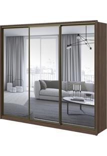 Guarda-Roupa Spazio Super Glass Com Espelho - 3 Portas - 100% Mdf - Imbuia Naturale