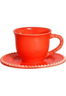Xícaras De Chá Com Pires Bolinha 6 Peças Goiaba Scalla