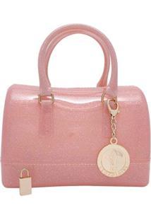 Bolsa Tiracolo Mini Candy Bag Rosa Com Glitter Leopoldine
