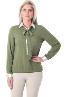 Camisa Laço Na Gola Miss Joy Verde