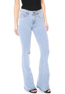 Calça Jeans Lança Perfume Flare Destroyed Azul