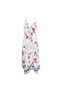 Vestido Midi Floral E Barrado Janna Maria Filó - Off White