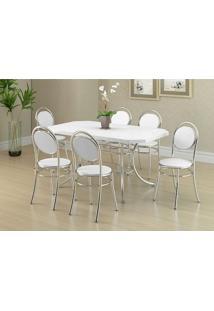 Mesa 1507 Branca Cromada Com 6 Cadeiras 190 Branca Carraro