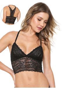 Sutiã Calvin Klein Underwear Triângulo Renda Preto