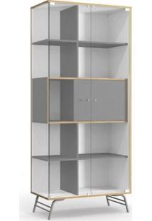 Cristaleira Kappesberg Pop Po601-B1 2 Portas Em Vidro Branco/Cinza Se