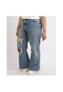 Calça Jeans Feminina Plus Size Wide Pantalona Cintura Super Alta Destroyed Com Barra Desfiada Azul Médio