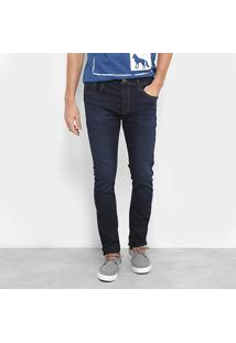 Calça Jeans Skinny Acostamento Lavagem Escura Cintura Média Masculina - Masculino