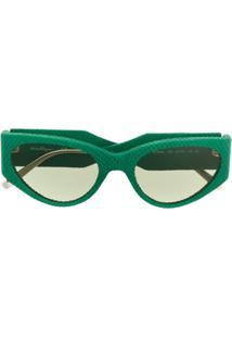 Salvatore Ferragamo Óculos De Sol Oval - Verde
