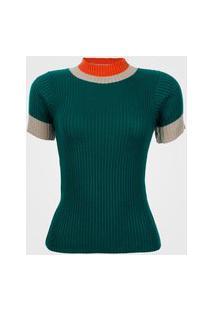 Blusa Feminina Gola Alta Bicolor - Verde M
