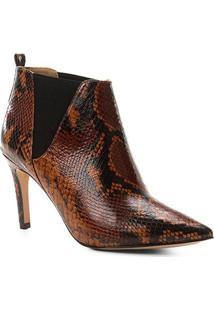 Bota Cano Curto Shoestock Salto Fino Snake Feminina - Feminino-Caramelo