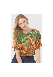 Camiseta Forum Padronagem Verde/Laranja