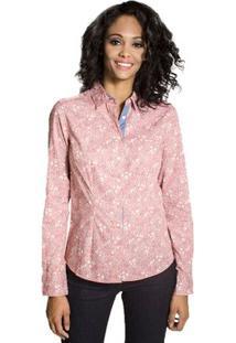 Camisa Slim Floral Colcci - Feminino-Rosa