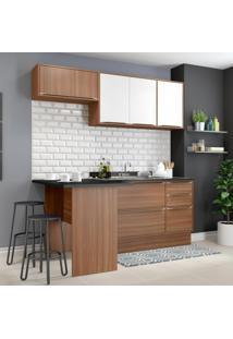 Cozinha Compacta 6 Portas 3 Gavetas 5460R Nogueira/Branco - Multimóveis
