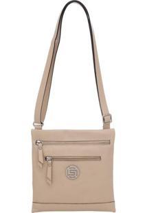 Bolsa Smart Bag Couro Transversal - Feminino-Bege