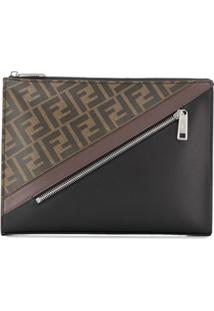 Fendi Clutch Com Estampa De Logo - Marrom