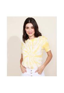 "Blusa Feminina Positive Vibes"" Estampada Tie Dye Manga Curta Decote Redondo Amarela"""