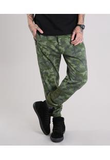 Calça Masculina Jogger Em Moletom Estampada Camuflada Com Bolsos E Zíper Verde Militar