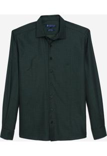 Camisa Dudalina Manga Longa Fio Tinto Maquinetado Masculina (Verde Escuro, 3)