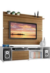 Rack Madesa Cancun E Painel Para Tv Até 65 Polegadas - Branco/Rustic/Rustic Branco