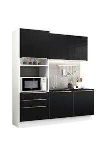 Cozinha Compacta Madesa Lux Com Armário E Balcão 5 Portas 3 Gavetas Branco/Preto Branco