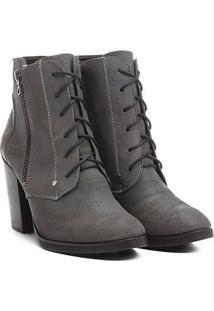 Bota Couro Shoestock Coturno Zíper - Feminino
