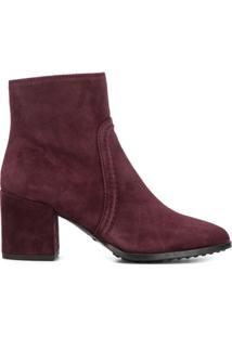 Tod'S Ankle Boot Com Salto Bloco - Roxo