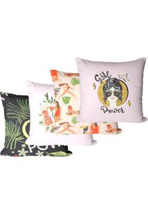 Kit Com 4 Capas Para Almofadas Girl Room 45X45Cm - Multicolorido - Dafiti
