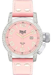 Relógio Analógico E064- Prateado & Rosa Claro- Everleverlast Relógios