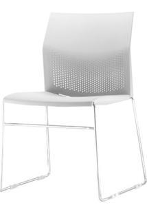 Cadeira Connect Assento Branco Base Fixa Cromada - 53770 Sun House