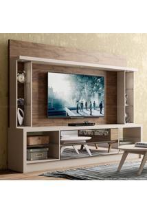 Estante Home Theater Para Tv Até 55 Polegadas Com 2 Gavetas Com Espelho E Luminária Led Asti 100% Mdf Tb192E Fendi/Nobre - Dalla Costa