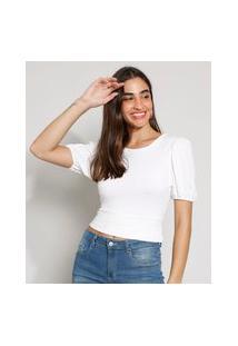 Blusa Feminina Manga Bufante Texturizada Com Vazado E Nó Decote Redondo Off White