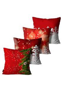Kit Com 4 Capas Para Almofadas Premium Cetim Mdecore Natal Arvore De Natal Vermelha 45X45Cm