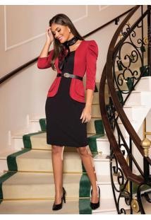 Vestido Moda Evangélica Peplum Bicolor