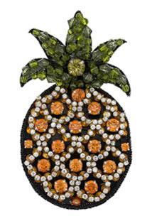 Nº21 Embellished Pineapple Brooch - Green