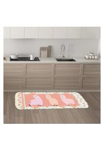 Tapete De Cozinha Mdecore Lhama Rosa 40X120Cm