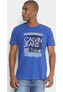 Camiseta Calvin Klein Pincelada Logo Masculina - Masculino-Azul