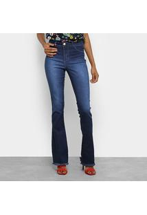 Calça Jeans Flare Coffee Estonada Cintura Média Feminina - Feminino-Azul