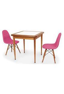 Conjunto Mesa De Jantar Em Madeira Imbuia Com Azulejo + 2 Cadeiras Botonê - Rosa