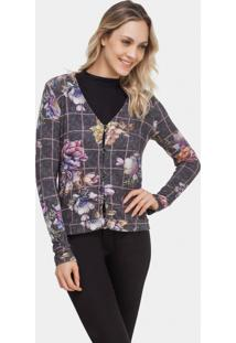 Cardigan Malha Estampado Tweed Flowers - Lez A Lez