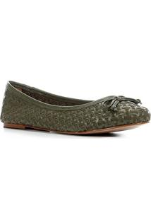 Sapatilha Couro Shoestock Tressê Feminina - Feminino-Verde