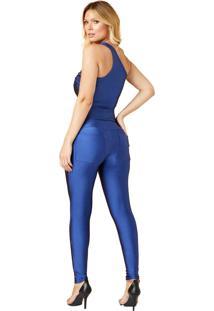 Body Miss Misses Ombro Único De Cirrê Azul