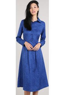 Vestido Feminino Mindset Midi Estampado Animal Print Manga Longa Azul Royal